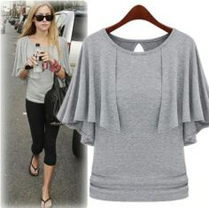 Original The butterfly sleeve shawl type-T-shirt - stylishplus.com- Really cute