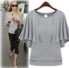 Original The butterfly sleeve shawl type-T-shirt - stylishplus.com- Really cute
