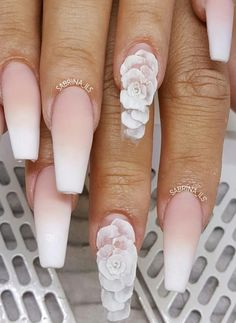 The process. Had to capture this set before encapsulating the roses and filing. Will post the final results in a bit. Bride Nails, Prom Nails, Long Nails, Red Wedding Nails, Simple Wedding Nails, Sparkle Wedding, White Acrylic Nails, Best Acrylic Nails, Cute Nails