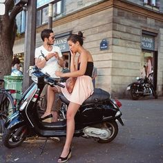 #ilivemystyle #summer #holiday #vacation #vespa #city #sightseeing #couple #mensapparel #womensapparel #motorbike #downtown #style #trendy #paris #rue