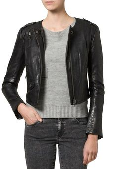 Ladies zip real leather jacket new mango MNG S UK 8 Georg .