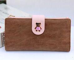 Wallets Nubuck Leather Lady's Long Design Wallet Cubs Zipper