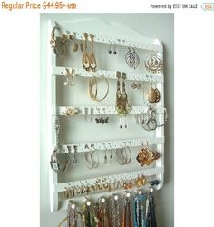 ON SALE Jewelry Holder Earring Organizer Solid Oak Wood White Stain Jewelry Organizer Necklace Storage Wall Rack Oak Wood Choose Stai - White Wood Wall Hanging Earring Holder Necklace Holder - Necklace Storage, Necklace Display, Necklace Holder, Jewelry Holder, Jewellery Storage, Jewelry Organization, Jewellery Display, Earring Holders, Diy Jewelry