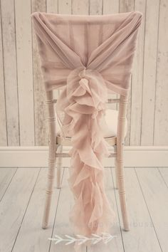 Dusky pink ruffle wedding chair sash decoration ideas