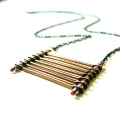 Industrial Stacked Copper & Oxidized Sterling Ladder Necklace by LillyandLulu