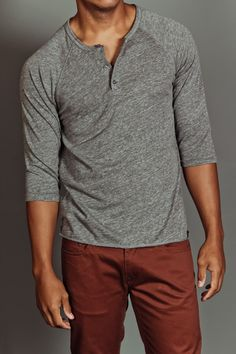 #weekendcasual #menswear || grey three-quarter sleeve shirt with burnt orange/brown slacks