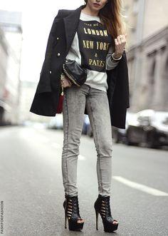 Black blazer t-shirt gray jeans black heels. Street autumn fall women fashion outfit clothing style apparel @roressclothes closet ideas