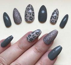 Press-On Nails Hand Painted False Nails Stiletto (Or Any Shape) Grey / Stone Leopard Print Uk Leopard Nail Designs, Grey Nail Designs, Acrylic Nail Designs, Grey Gel Nails, Leopard Print Nails, Stiletto Shaped Nails, Dipped Nails, Nail Art Hacks, Beauty Nails