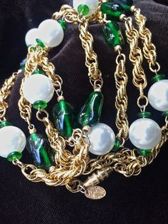 Vendome vintage necklace, elegant pearls and green glass beads, gold chains, Costume jewelry, vintage necklace,  Vintage jewelry by TwoSwansSwimming on Etsy