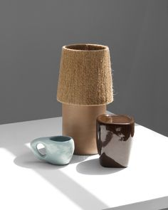 Harvey Bouterse's New Ceramic Lamp is a Study in Contrasting Textures - Sight Unseen Glass Ceramic, Ceramic Lamps, Types Of Lighting, Objects, Clay, Shapes, Texture, Mugs, Tableware