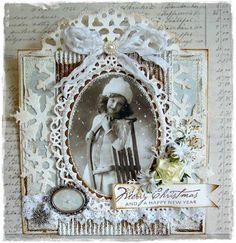 """Christmas Card by LLC DT Member Tina Klix, using papers from Pion Design's """"Silent Night"""" collection. Also the image is from Pion."""