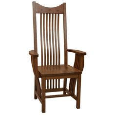 The Royal Mission Arm Chair with wood seat possesses the simple yet graceful look of the Arts & Crafts style. Constructed from solid White Oak, this chair features attractive specks in the grain typical of quarter-sawn lumber. The solid quarter sawn White Oak used in this chair is all hand selected and treated by skilled Amish craftsmen in America's heartland. Whether as part of the Royal Mission Dining Set or by itself, this chair makes a proud statement of timeless Mission style.