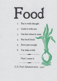 1917 US Food Administration Food Quote