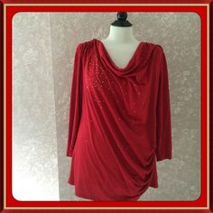 Avon Beaded Red Tunic Top Womens Large L #Avon #Tunic #EveningOccasion