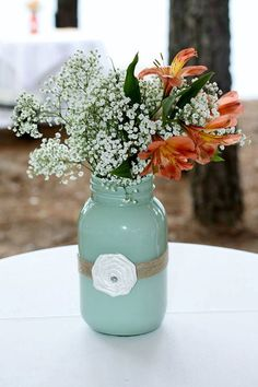 Mason Jar Centerpieces by WeddingOfTheYear on Etsy, $7.50