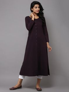 Maroon Cotton Kurta