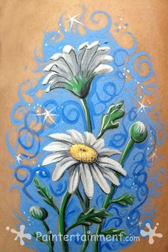 "Paintertainment: ""Rita Daisies!"" Click for step by step of this and a simpler, single daisy."