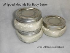 Whipped Body Butter -  3 Parts butter (mango, cocoa, shea) and/or coconut oil  1 Part liquid oil (almond, olive, castor, etc).