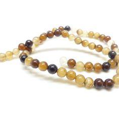 10 perles agate naturelle tons cafés  - 6 mm -