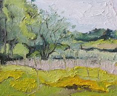 The Apple Tree on the Yellow Field, Burchton, Quebec, Canada by Francois Fournier Oil ~ 10 x 12