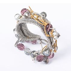 Metallic Silver Crocheted Bracelet with Silver and Gold Leather Cord, Mauve, Clear and Metallic Shade Glass Beads