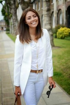 ladies office style fashion .adoeable white combination outfits with blazer ,shirt  slim and skiny...