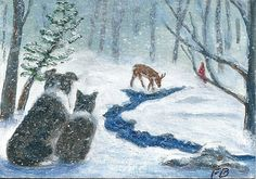 """Winter Snow Watch"" with Border Collies, Sammy and Breagh, in the snowy woods watching critters- an original ACEO by Fran Brooks. www.artistnannie.com"