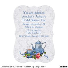 Lace Look Bridal Shower Tea Party Invitation