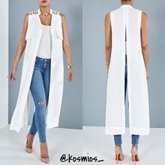 Are you white party ready ladies? Size Large Search: Slit Back Cardigan Click the link my bio to SHOP! Kimono Fashion, Fashion Dresses, Casual Wear, Casual Outfits, Dress Over Pants, Bodice Pattern, Long Vests, Apron Dress, Pinterest Fashion