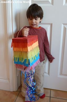 How to make a simple rainbow pull string pinata