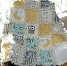Prefringed Rag Quilt KIT  Little owl in yellow by skyvalleyquiltco