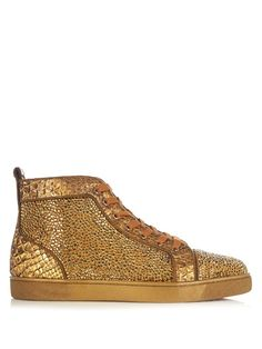 CHRISTIAN LOUBOUTIN Louis High-Top Crystal-Embellished Trainers. #christianlouboutin #shoes #sneakers