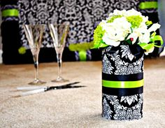 LOVE THIS IDEA TO HOLD THE BRIDAL BOUQUET ON THE TABLE!  Black White Anemone & Lime Green Pom Mums Wedding by BloomedToLast, $105.00