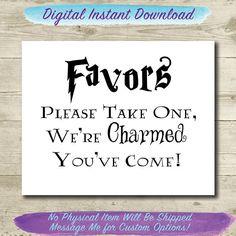 Harry Potter Wedding // Wedding Favors Sign // Printable // 8x10 // Harry Potter Bridal Shower // Please Take One Sign