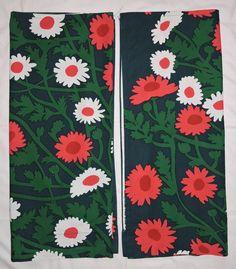 "Vintage 1975 MARIMEKKO Maija Isola MEHILAINEN Floral Fabric Curtain 2 Panels 50"""