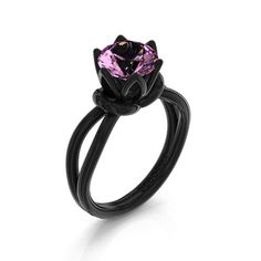 Decorum 14K Black Gold 2.0 Ct Light Pink Sapphire by DecorumRings