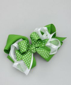 Look at this Picture Perfect Hair Bows Apple Green Triple-Layer Bow Clip on #zulily today!