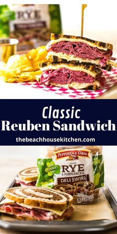 This Classic Reuben Sandwich is a St. Patrick's Day MUST! Lean corned beef, Swiss cheese, Russian dressing and sauerkraut all sandwiched between two slices of fresh deli swirl rye makes for a winner of a holiday sandwich! Reuben Sandwich, Deli Sandwiches, Key Lime Pie Cheesecake, Russian Dressing, Bangers And Mash, Sandwich Ingredients, Swiss Cheese, Slice Of Bread, Game Day Food