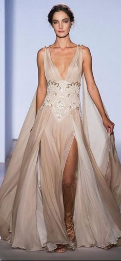 Zuhair Murad - Haute Couture Spring 2013........ Cream Toned Flowy V Neck Gown With Detailed Waist