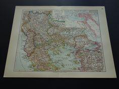 """1913 antique map of Turkey Ottoman empire - beautiful vintage old poster - Turkije Ottomaanse rijk Türkei Turquie Albania - 25x33c 10x13"""" by VintageOldMaps on Etsy"""