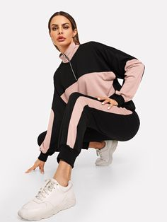 Shop Two Tone Half Placket Sweatshirt & Pants Set online. SHEIN offers Two Tone Half Placket Sweatshirt & Pants Set & more to fit your fashionable needs. Fitted Suit, Two Piece Outfit, Clothing Co, Two Pieces, Fashion News, Fashion Styles, Fashion 2018, Woman Fashion, Winter Fashion