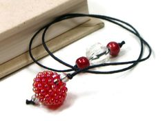 Book Thong Beaded Bookmark Red Book Cord String by TJBdesigns, $4.00
