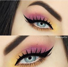 ★♥★Visually enlarge your small blue eyes by avoiding a black eyeliner on the bottom waterline. Use a white eye pencil on the waterline and light colored eyeshadow under the lower lash line instead and enjoy your eyes pop! Yellow and pink eye makeup Pink Eye Makeup, Makeup Eye Looks, Colorful Eye Makeup, Eye Makeup Art, Eyeshadow Makeup, Pop Of Color Eyeshadow, Eyeshadow For Blue Eyes, Colorful Eyeshadow, Eyeliner For Small Eyes