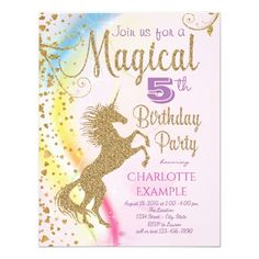 388 best 4th birthday party invitations images on pinterest 4th unicorn rainbow magical birthday party invitations filmwisefo