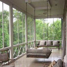50 Inspiring Rustic Porch Swing Ideas To Get Comfort In Relaxing What could be more complimentary to an entryway patio than a wooden porch swing? Bring back the charitableness of times past. A porch swing can add a dash of sentimentality [Continue Read] Back Porch Designs, Screened Porch Designs, Screened In Porch, Farmhouse Porch Swings, Farmhouse Front Porches, Rustic Porch Swings, Hanging Porch Bed, House With Porch, Porch Decorating