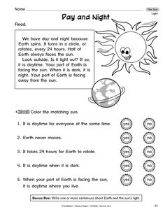 A reading passage and comprehension questions on the sun. Perfect for Science and Reading! First Grade Curriculum, 1st Grade Activities, First Grade Worksheets, Third Grade Science, School Worksheets, Science Activities, Printable Worksheets, Planets Activities, Kindergarten Worksheets