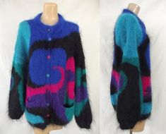 Vintage 80s EXTRA FLUFFY Mohair Sweater in a Bold Graphic Pattern | 1980s fuzzy Oversized Cardigan | Handmade in England | Plus Size XXL