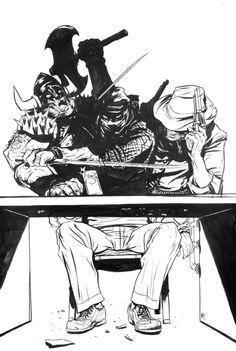 Cowboy Ninja Viking pinup by Nathan Fox Comic Art