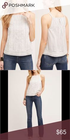 """Anthropologie Striped Embroidered Top Altura Halter Top By Vanessa Virginia Cotton Embroidery detail Pullover styling 12: 19"""" underarm to underarm and 24.25"""" L 14: 21.25"""" underarm to underarm and 24.5"""" L Anthropologie Tops Tank Tops"""