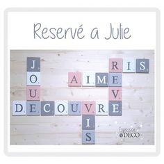 commande spéciale reservée 20 lettres scrabble 10 cm pour Julie